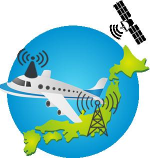 飛行機でWi-Fiがつながるしくみ。電波は人工衛星を中継して届きます。